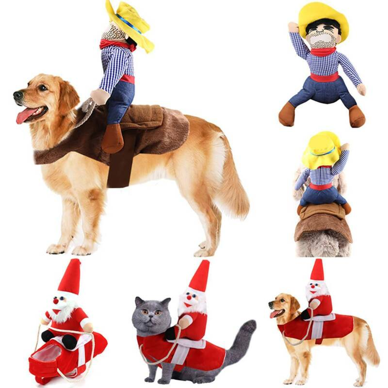 Christmas Santa Claus Pet Dog Fancy Dress Jacket Coat Costume Outfit Clothes UK 1
