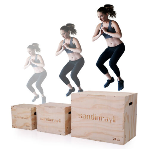 3-in-1 Wooden Plyometric Jump Box Strength Training CrossFit Gym Workout