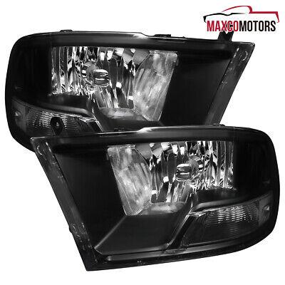 For 2009-2019 RAM 1500 2500 3500 Pickup Matte Black Headlights Head Lamps Pair