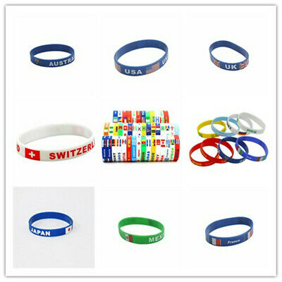 Fashion World Cup Country Flag Silicone Rubber Bracelet Sport Soccer Wristband - Soccer Bracelet
