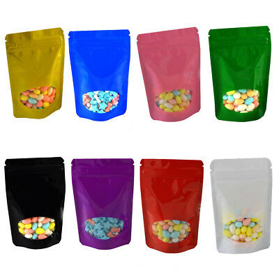 Aluminum Foil Stand Up Zip Lock Pouches Food Storage Seal Bag With Clear Windown