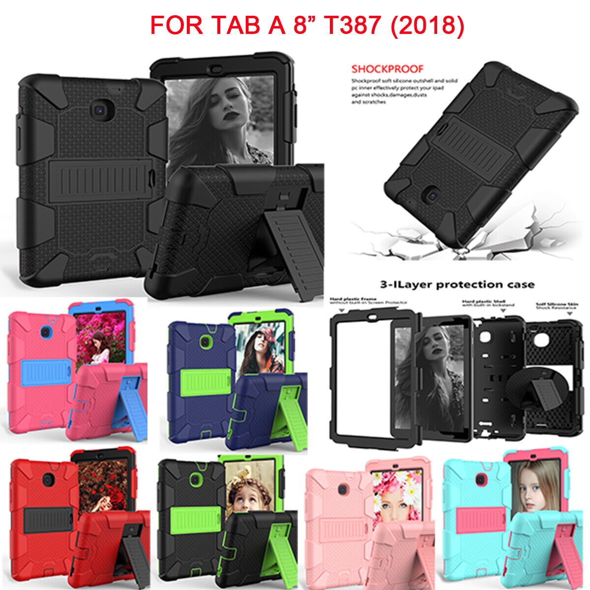 "For Samsung Galaxy Tab A 8.0"" SM-T387 2018 Shockproof Hard Case Cover Rugged Cases, Covers, Keyboard Folios"