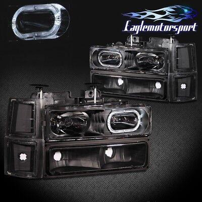 1994-1998 Chevy C10 C/K 1500/2500/3500 LED Halo Headlights+Bumper Corner Lamps