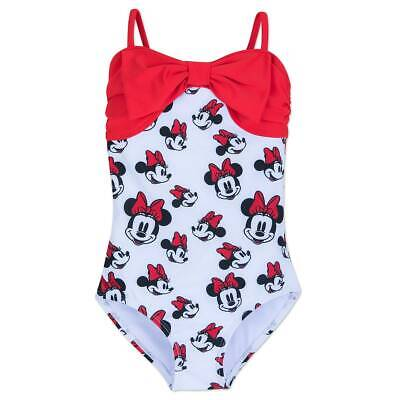 NWT Disney Store Minnie Mouse Swimsuit Girls 1 pc UPF 50+ Minnie Mouse Allover](Disney Swimwear Girls)