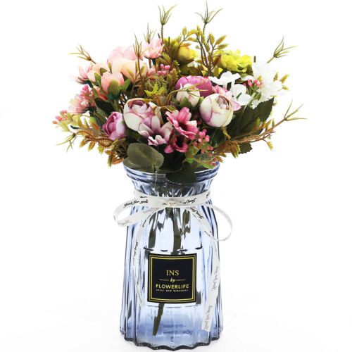 3-pack Artificial Peonies Silk Flowers with Vase Faked Peony Flowers Bouquets