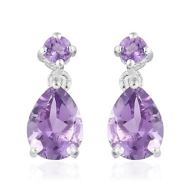 Women's 925 Sterling Silver Pear Purple Amethyst Dangle Drop Earrings Jewelry