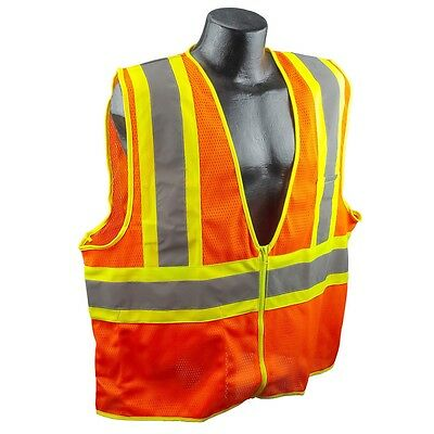 Full Source Class 2 Reflective Mesh Safety Vest With Pockets Orange