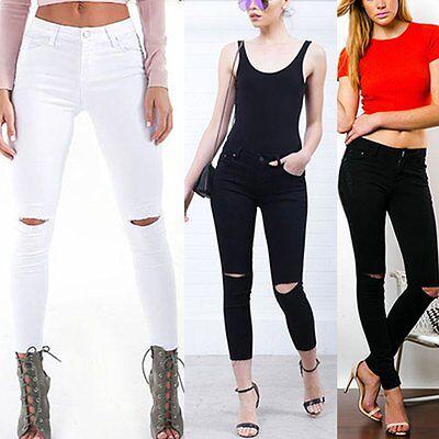 Women Denim Skinny Ripped Pants High Waist Stretch Jeans Slim Pencil Trousers