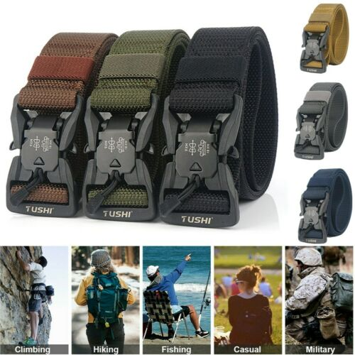 8 Colors Tactical Belt Magnetic Quick Release Buckle Adjustable Nylon Fashion US Belts
