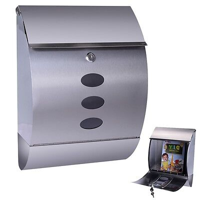 Stainless Steel Wall Mount Mail Box W  Retrieval Door   Newspaper Roll   2 Keys