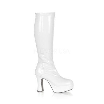 White 70s Disco Chunky Platform Disco GoGo Dancer 60s Hippie Costume Boots Woman](Gogo White Boots)