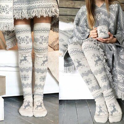 Women Winter Soft Long Socks Christmas Thigh High Stockings Knit Over Knee Socks (Christmas Thigh High Stockings)