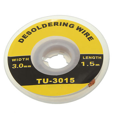 5 Feet 1.5m 3mm Desoldering Braid Solder Remover Wick Wire Repair Tool New T Fg