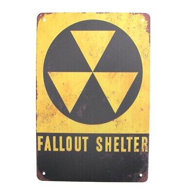 FALLOUT SHELTER METAL SIGN MAN CAVE GARAGE BAR PLAQUE VINTAGE RETRO GIFT WARNING