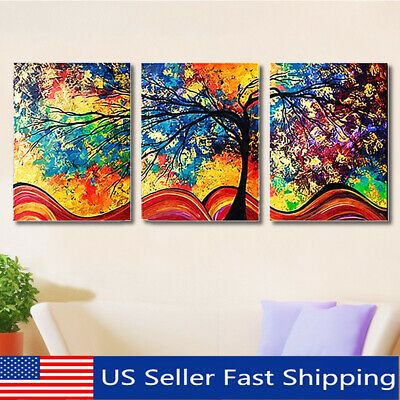 3Pcs Abstract Colorful Tree Canvas Print Art Painting Picture Home Wall