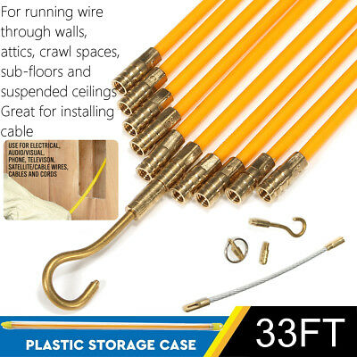 33 Fiberglass Running Wire Cable Coaxial Electrcal Fish Tape Brass Pull Push