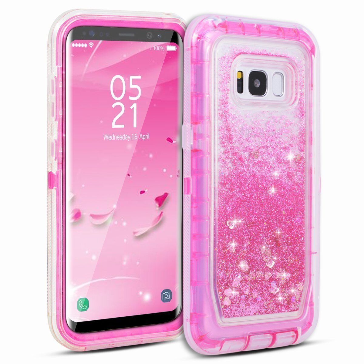 Galaxy S 9 8 7 Plus Edge Note 8 Liquid Glitter-Defender Case Clip Fits Otterbox