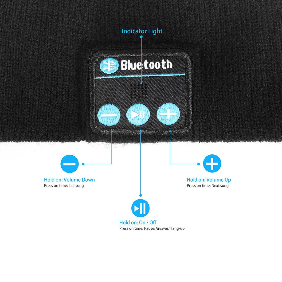 2019 Soft Warm Beanie Hat Bluetooth Wireless Headphone Speaker w/ Mic Smart Cap