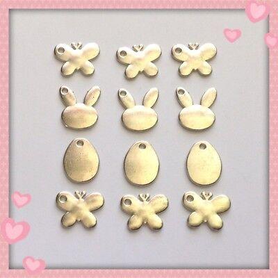 12 Silvertone Easter Bunny Egg Butterfly Charms Jewelry Earrings Bracelet DIY E8 ()