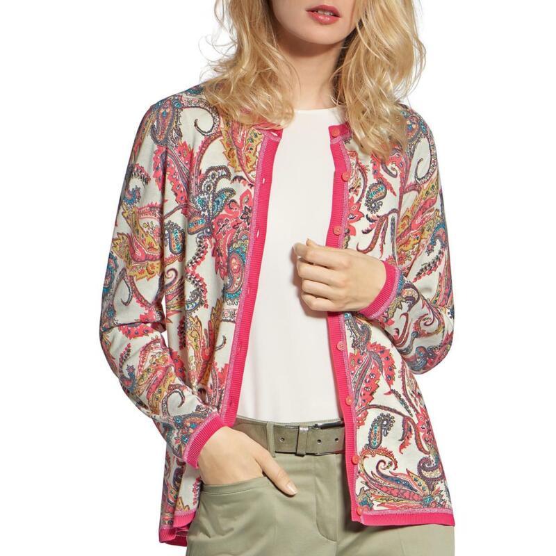 Basler Womens Paisley Cotton Cardigan Sweater Top BHFO 2482