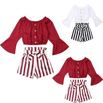 US Kids Toddler Baby Girl Long Sleeve T-shirt Clothes+Striped Short Pants Outfit