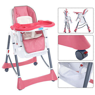 Portable Baby High Chair Infant Toddler Feeding Booster Folding Highchair Pink