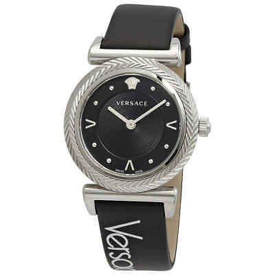 Versace V-Motif Quartz Black Dial Ladies Watch VERE00918
