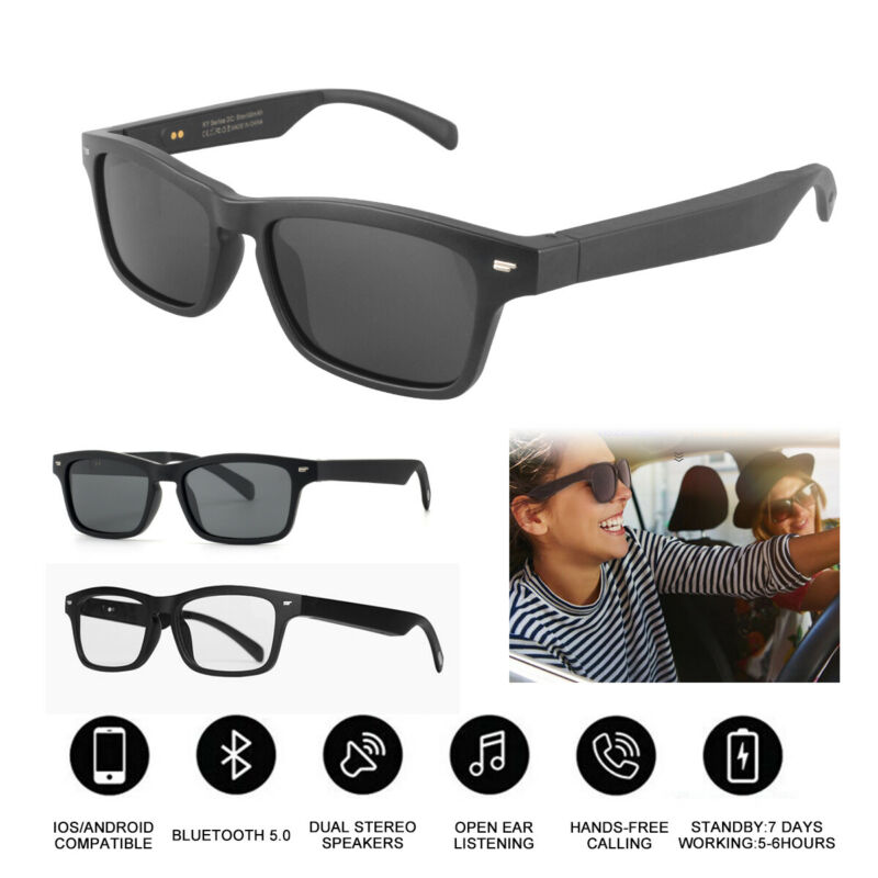 Smart Glasses Bluetooth Polarized Sunglasses Headset Speaker Hands Free Calling