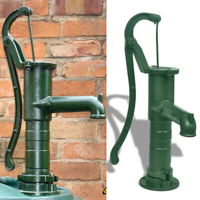 Cast Iron Garden Hand Water Pump Working Vintage Style Functional Ornament Green