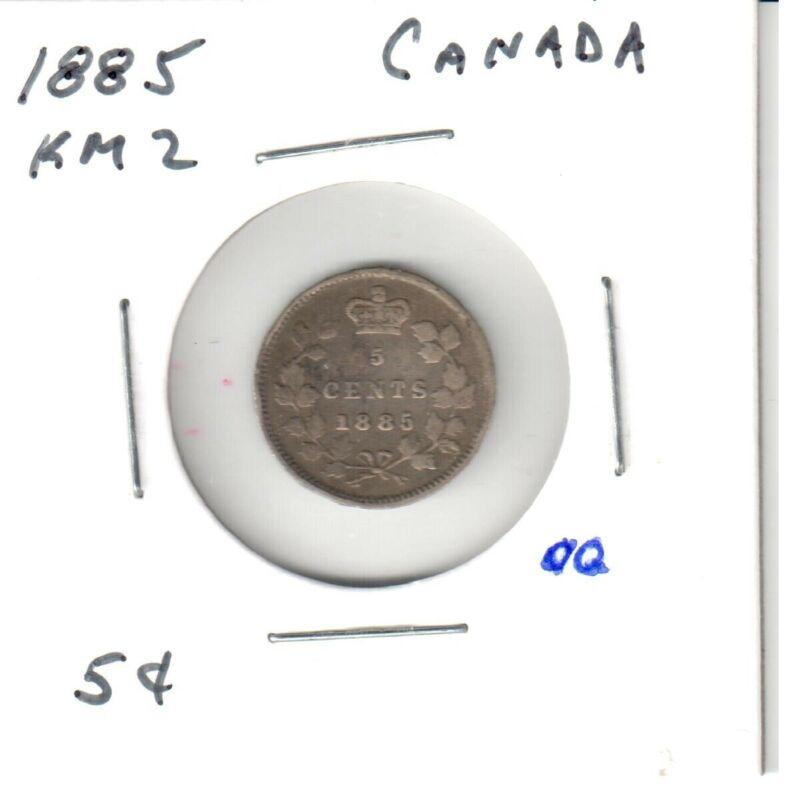 1885 CANADA - Silver FIVE CENTS - Queen Victoria - .0925 Silver -- KM-2