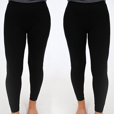 Women's Full Length Stretch Leggings 2-Pack Black L