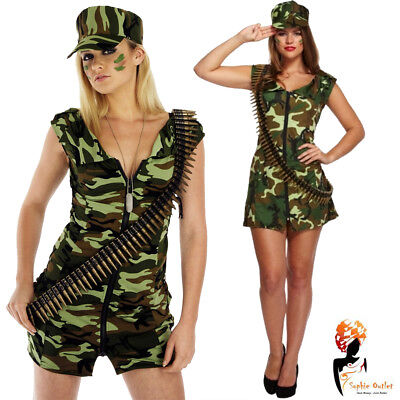 Adult Army Girl Costume Sexy Soldier Fancy Dress Military Uniform Womens Outfit (Woman Soldier Costume)