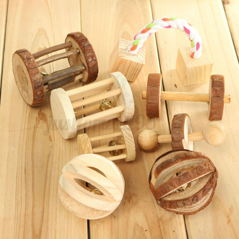Natural Pine Roller Dumbells Bell Unicycle Chew Toys For Rabbits Guinea USA !