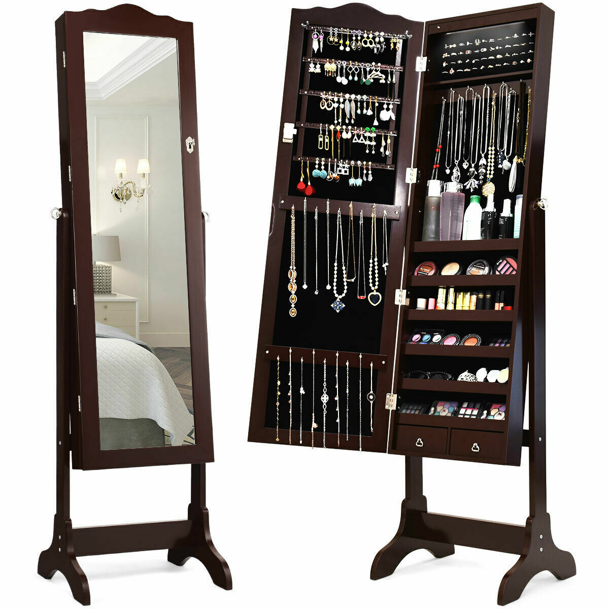 Jewelry Mirrored Cabinet Armoire w/Drawer & Led Lights Brown