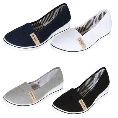 Damen Sneakers Ballerinas Slipper Stoffschuhe Flats Keilabsatz Schuhe