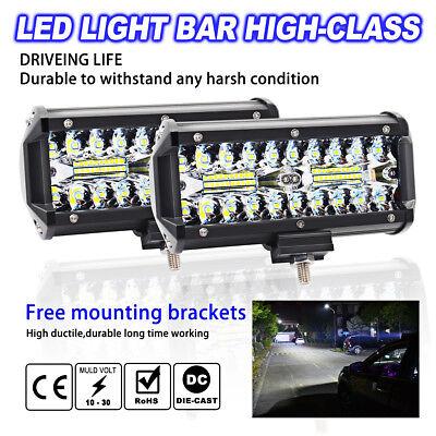 7inch 400W LED Work Light Bar Flood Spot Beam Offroad 4WD SUV Driving Fog Lamp