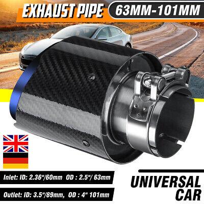 2.5'' 63mm-101mm Stainless Carbon Fiber Rear Exhaust Pipe Muffler Trim Tip End