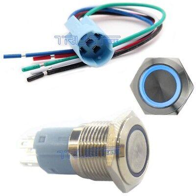 Socket Plug+ 16mm 12V LED Momentary Push Button Black Metal Power Switch Blue