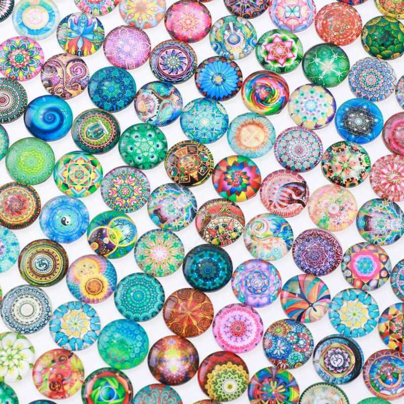как выглядит Rosenice Mosaic Tiles 200pcs 10/12/14mm Mixed Round for Crafts Glass Supplies фото