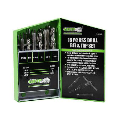 Grip 18pc Steel Drill Bits & Tap Bit Set Spiral Point Plug Taps Tools 35148 ()