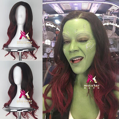 Guardians of the Galaxy Gamora Long Wavy Black Red Color Cosplay Halloween Wig - Long Red Halloween Wig