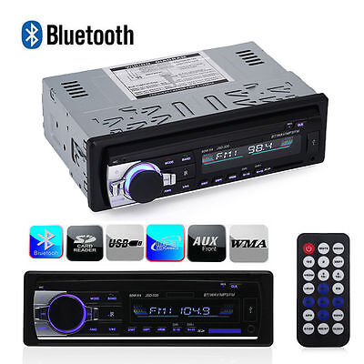 Car Bluetooth Stereo Audio 1 DIN In-Dash FM Aux Input Receiver SD USB MP3 Radio
