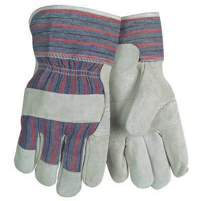 12 Pairs Memphis Split Cowhide Leather Work Gloves, Large