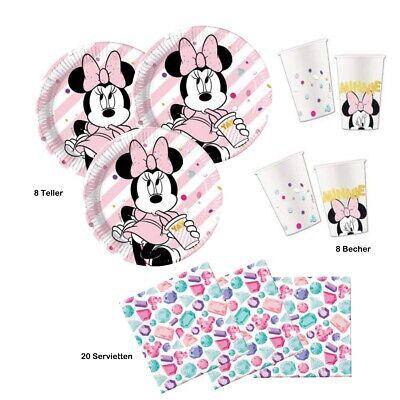 Maus Party Premium Set 8 Kinder Teller Becher Servietten  (Minnie Mouse Servietten)