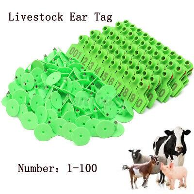 Green Plastic 1-100 Number Animal Livestock Ear Tag Set For Goat Sheep Pi