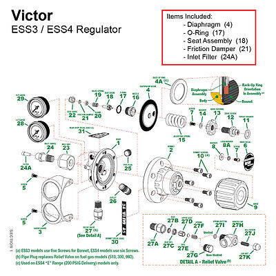 Repair Kit For Victor Edge Ess3 Oxygen Regulator 0790-0162
