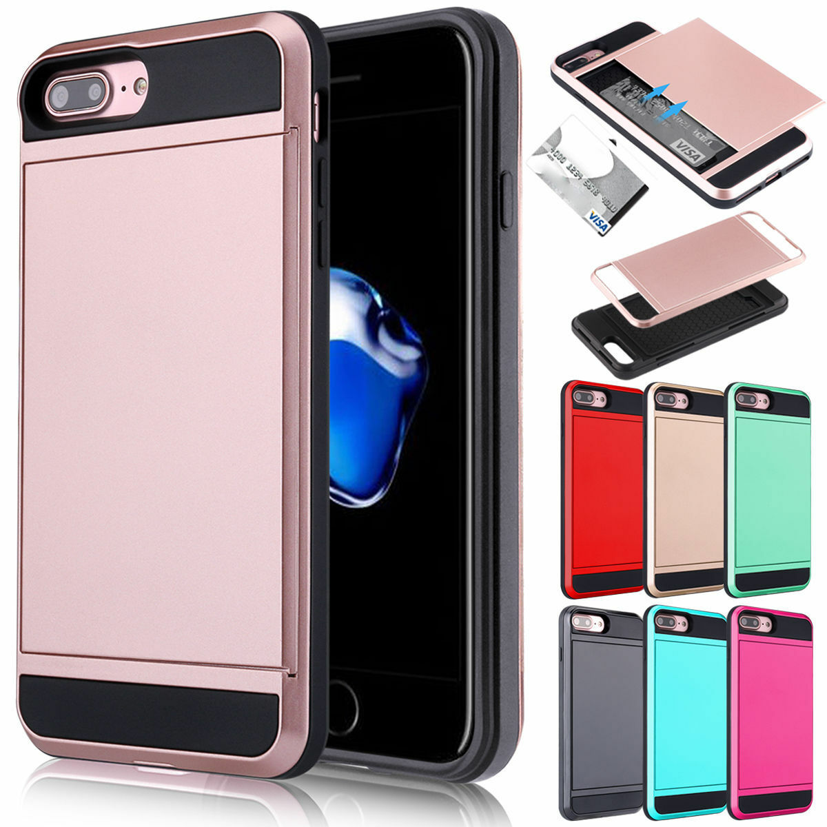 Fits iPhone 8 7 Plus Shockproof Wallet Credit Card Holder Hy