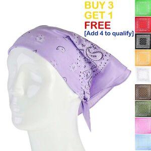 Paisley-Plain-Headwear-Bandana-Neck-Head-Hair-Scarf-Wrap-Wrist-Cotton-Bandanna
