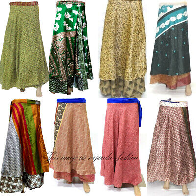 WHOLESALE LOT SILK SKIRT FlORAL MULTI COLOR  REVERSIBLE RAPRON GYPSY FESTIVAL ](Skirt Wholesale)