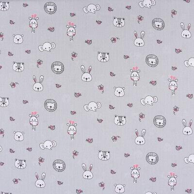 Baumwollstoff Baby Tiergesichter Giraffe Elefant Bär grau rosa weiß 1,40m - Baby Rosa Elefant Kostüm